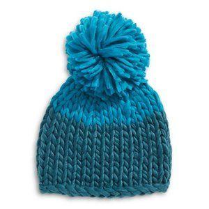 ✨ BNWT Free People Blue Knit Beanie with Pom Pom